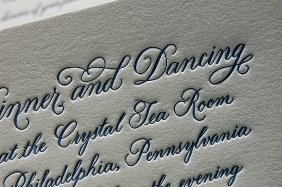 Letterpress Wedding Invitation featuring Hand Calligraphy DEPOSIT