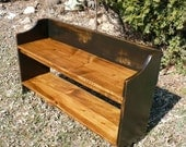 Pine Bench Black Distressed Paint Square Nailed New Handmade Furniture