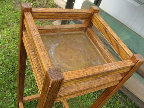 Mission Style Antique Plant Stand Oak Wood with Brass liner