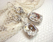 Vintage style earrings, wedding jewelry, estate style, wedding earrings, bridal earrings, antique silver, Swarovski crystal