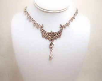 Wedding necklace, Crystal bridal necklace, wedding jewelry, vintage style necklace, Swarovski crystal necklace, Antique silver necklace
