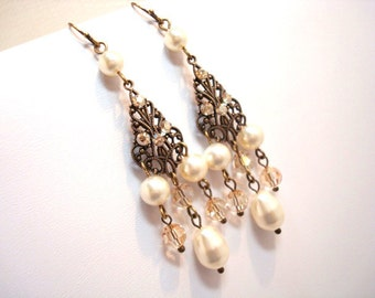 Chandelier earrings, bridal earrings with Swarovski ivory pearls and Swarovski golden shadow crystals, antique earrings, vintage style