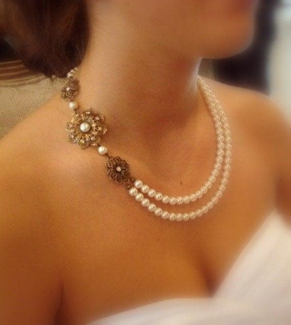 Pearl Necklace Styles: Vintage Style Bridal Necklace Wedding Jewelry Swarovski