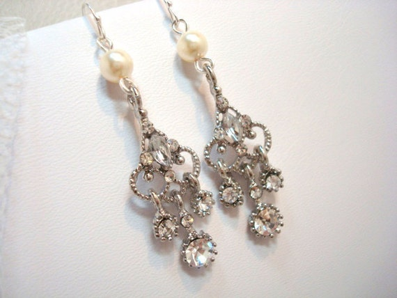 Bridal earrings, sterling silver chandelier earrings with Swarovski ivory pearls and clear rhinestone crystals, wedding jewelry