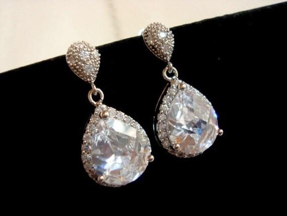 Crystal Wedding earrings, CZ bridal earrings, Bridal jewelry, Teardrop earrings, Bridesmaid jewelry, CZ earrings, Rhinestone earrings