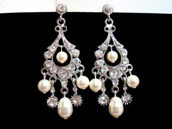 Bridal chandelier earrings, pearl earrings with Swarovski pearls and crystals, vintage style, wedding earrings, wedding jewelry