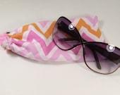 Pink Chevron Glasses or Sunglasses Pouch
