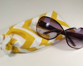 Mustard Yellow Chevron Glasses or Sunglasses Pouch