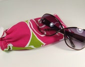 Hot Pink and Lime Green Glasses or Sunglasses Pouch