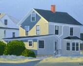Urban Landscape Art Maine Cityscape Painting Gray House