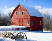 Fine Art Photography Maine Winter Landscape Red Barn 5x7