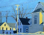 Maine Urban Landscape Print Reproduction Winter Houses Wall Art 5x7 Home Decor