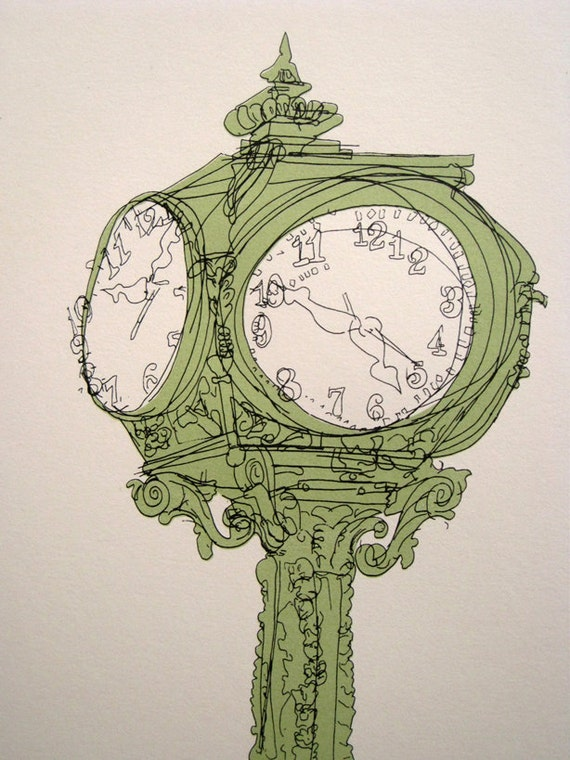 Line Drawing Clock : Old clock