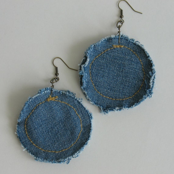 Recycled jeans earrings-jean earrings