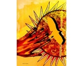 Tribal Art, Sun Art, Mixed Media Painting, Native American, Southwestern Art, Wall Hanging, Rustic Decor, Home Decor, Giclee Print