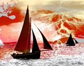 Red Wall Decor Sailboat Photomontage Art Thunderstorm Lightning Nautical Abstract Digital Print Red Gold Home Decor 8 x 10 Giclee Print