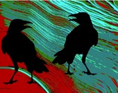 Crows At The River Southwestern Bird Art Turquoise Red Blue Woodland Animal Abstract Realism Wildlife Wilderness 8 x 10 Giclee Print