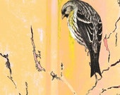 Spring Sparrow Art Bird Digital Abstract Realism Peach and Yellow Wildlife Wilderness Woodland Animal Giclee Print 8 x 10
