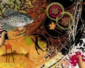 Fish Art, Collage Digital Print, Bobwhite Quail, Woodland Animals, Olive Green Red Orange, Wall Hanging, Home Decor, Giclee Print