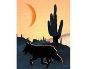 Desert Art Wolf Cactus Photomontage Native American Wild Totem Animal Southwestern Wolves Orange Home Decor Wall Hanging Giclee Print 8 x 10