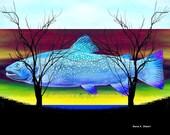 Fish Art Blue Trout Wildlife Home Decor Digital Print Aquatic Nautical Surreal Fantasy Underwater Giclee Print Wall Decor 5 x 7 OR 8 x 10
