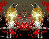 Birds Eating Red Berries Digital Print Gold Red Black 8 x 10 Giclee - GrayWolfGallery