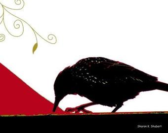 Black Crow, Digital Red Bird Art, Southwestern Totem Animal, Blackbird Cabin Home Decor, Woodland Wall Hanging, 8 x 10, Giclee Print