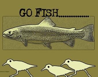 Fish Folk Art, Running Shorebirds, Olive Green,  Digital Typography Design, Wall Hanging, Typewriter Font, Black Text, Giclee Print, 8 x 10