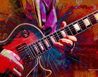 Electric Guitar, Music Art, Abstract Realism, Musical Stringed Instrument, Rock n Roll, Guitarist Home Decor, 5 x 7 OR 8 x 10, Giclee Print