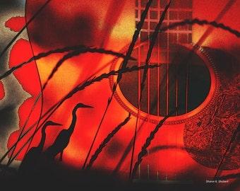 Red Guitar Art, Heron Silhouette, Bird Art, Home Decor, Digital Print, Abstract Realism, Southern USA, Wall Hanging, 8 x 10 Giclee Print