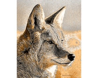 Coyote Art, Rustic Decor, Digital Print, Southwestern Native American Totem Animal, Wildlife Wall Hanging, Home Decor, Giclee Print, 8 x 10