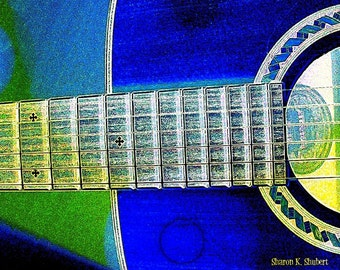 Guitar Art, Stringed Music Instrument, Digital Print, Cobalt Blue and Green, Wall Hanging, Southwestern Home Decor, Giclee Print, 8 x 10
