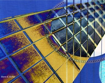 Guitar Strings Art, Music Instrument, Cobalt Blue Yellow, Abstract Realism, Giclee Print, Musician Home Decor, Wall Hanging, 8 x 10