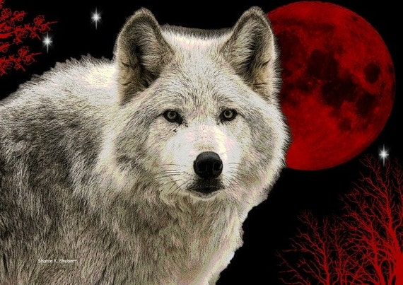 White Wolf Art, Red Blood Moon, Southwestern Wolves, Native American Totem Animal, Home Decor, Wall Hanging, Giclee Print, 8 x 10