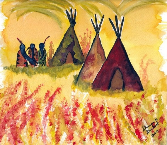 Tipi Watercolor Native American Inspired Folk Art Painting