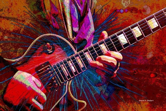 Electric Guitar Music Art Abstract Realism Musical Stringed