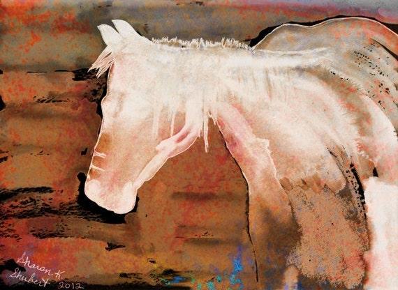 Horse Art, Native American Totem Animal, Southwestern Mixed Media, Fine Art, Digital Print, Home Decor, Wall Hanging, Giclee Print 8 x 10
