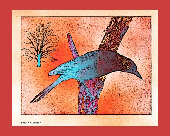 Grackle Bird, Perched In A Tree, Fauvism Folk Art, Southwestern Woodland Animal, Wall Hanging, Home Decor, Red Blue, 8 x 10, Giclee Print