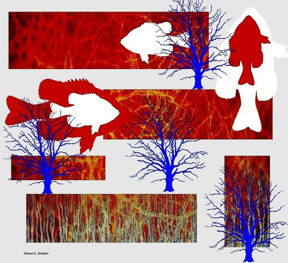 Fish Digital Collage Art, Red White And Blue Wall Decor, Giclee Print, Abstract Realism, Nature Trees, Woodland Wildlife Wilderness, 8 x 8
