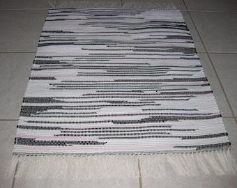 Handwoven Black, Pink, White Rag Rug 25 x 36