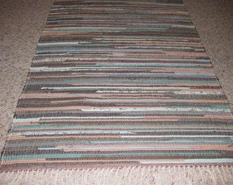 Handwoven Brown, Teal, Dusty Rose Rag Rug 25 x 67  (M)
