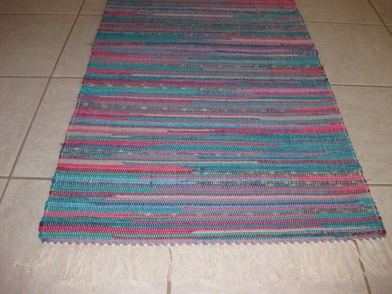 Handwoven Teal And Hot Pink Rag Rug 25 X 56