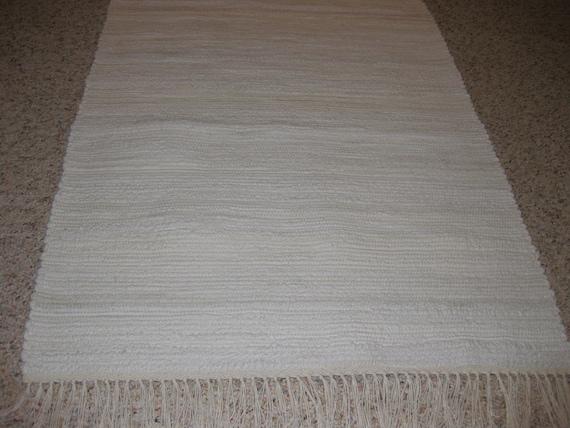 Handwoven Off White (socks) Rag Rug 25 x 70