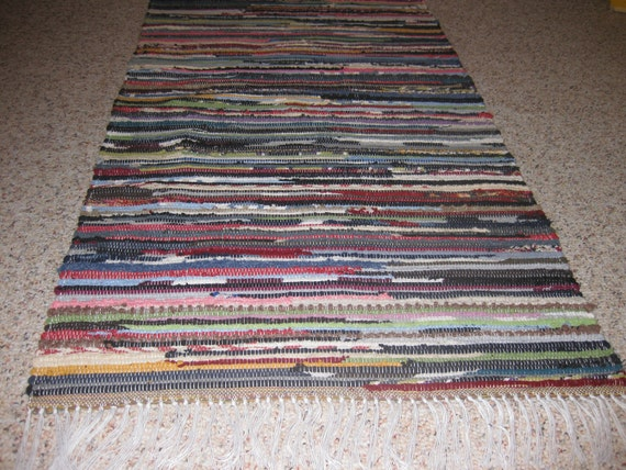Handwoven Dark Multi Rag Rug 25 x 60