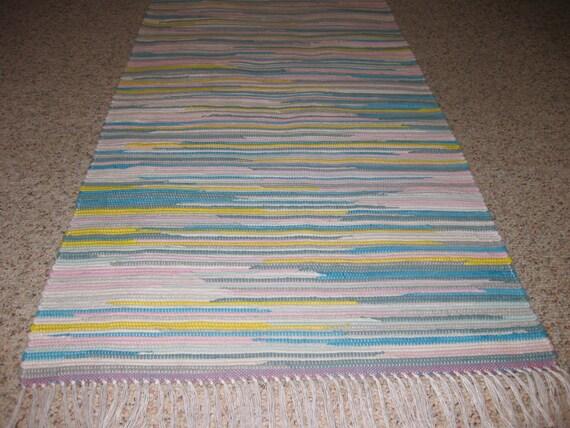 Handwoven Turqoise, Pink, White, Yellow, Gray Rag Rug 25 x 58