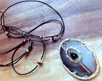 Agate Slice Necklace. Sterling Silver. GOOD LUCK  Brown Leather Cord Necklace. Agate - Smoky Quartz Pendant. Zen Necklace.