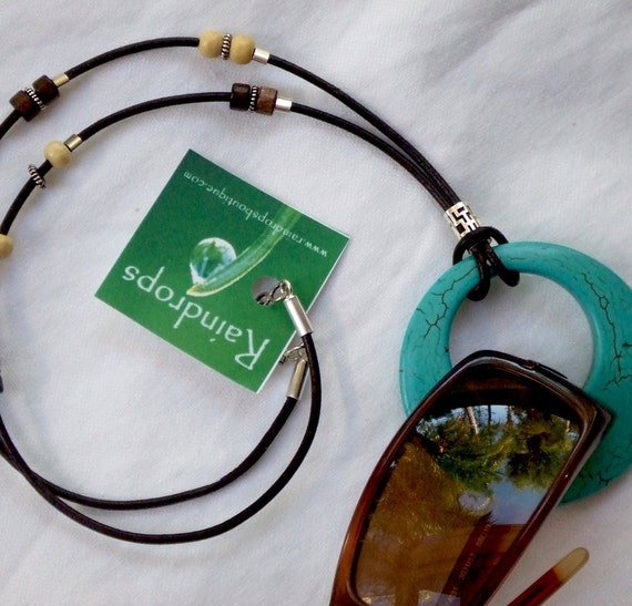 Eyeglass Holder - Necklace. Contemporary Glasses Holder with  Natural Stabilized Turquoise Ring.  Great For Sunglasses.