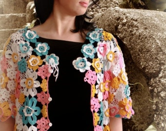 Flowery Cardigan. Crochet Pattern No 227