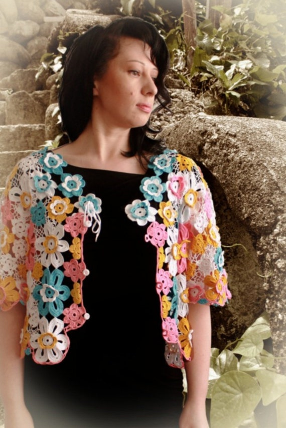 Flowery Cardigan. Crochet Pattern No 227