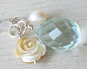 FREE SHIPPING Marin Jr. Necklace - aqua quartz, mother of pearl, freshwater pearl, sterling silver